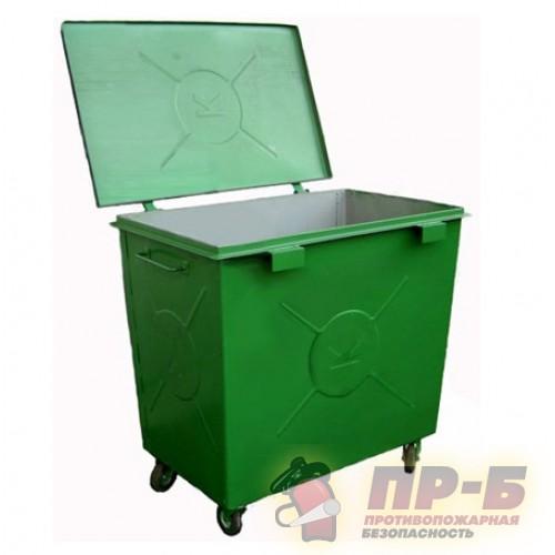 Контейнер для мусора 0,8 м3 металлический (колеса 160 мм усиленные) - Пожарные щиты, стенды и ящики для песка