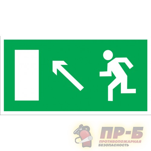 Направление к эвакуационному выходу налево вверх - Эвакуационные знаки