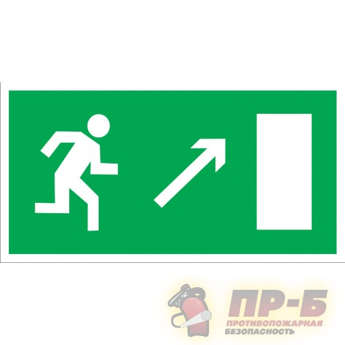 Направление к эвакуационному выходу направо вверх - Эвакуационные знаки