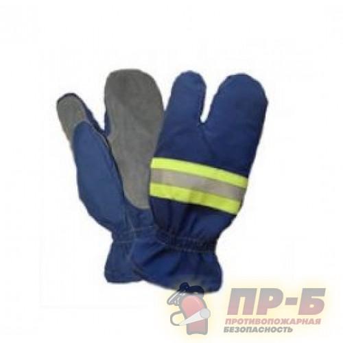 Перчатки пожарного трехпалые ткань АП, темно-синий цвет - Перчатки и рукавицы специальные