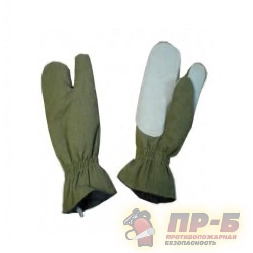 Перчатки трехпалые специальные для пожарных ткань «Пировитекс», болотный цвет - Перчатки и рукавицы специальные