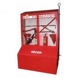 Стенд пожарный металлический закрытого типа с ящиками для песка