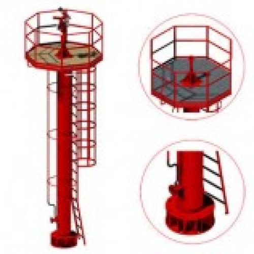 Вышка пожарная лафетного ствола с площадкой для работы ЛС, ВП 4м -
